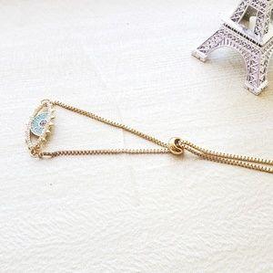 Jewelry - Gold filled evil eye bracelet, adjustable bracelet